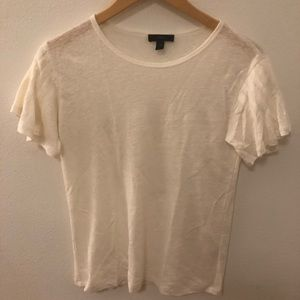 Cream J. Crew Tee with Flowey Sleeves